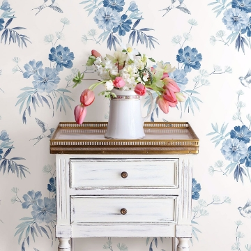 Picture of Deja Blue Floral Wallpaper