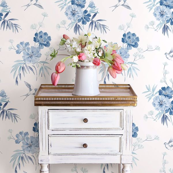 Picture of Deja Blue Floral Wallpaper