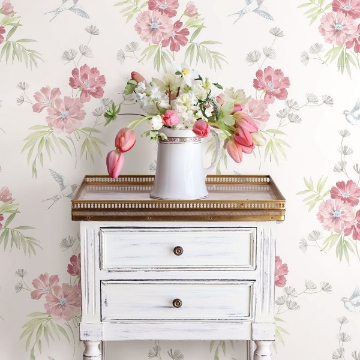 Picture of Deja Peach Floral Wallpaper