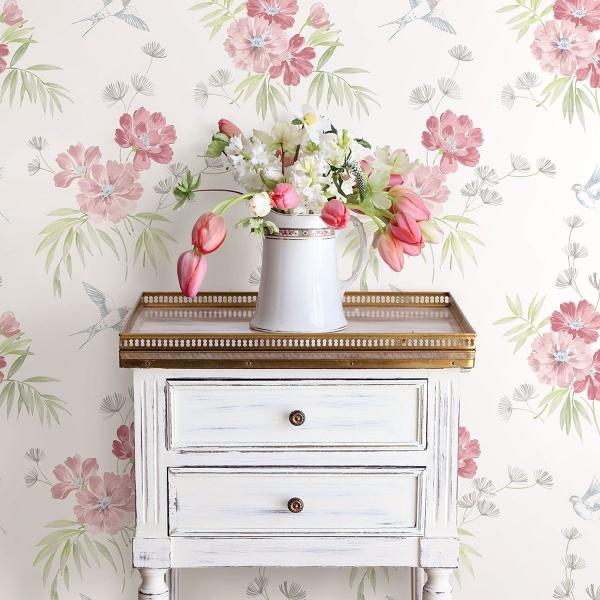 Picture of Deja Peach Floral Wallpaper