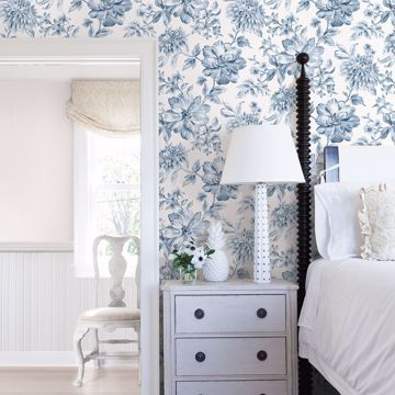 Picture of Gabriela Blue Floral Wallpaper