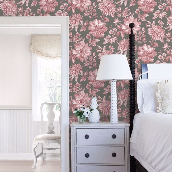 Picture of Gabriela Rasberry Floral Wallpaper