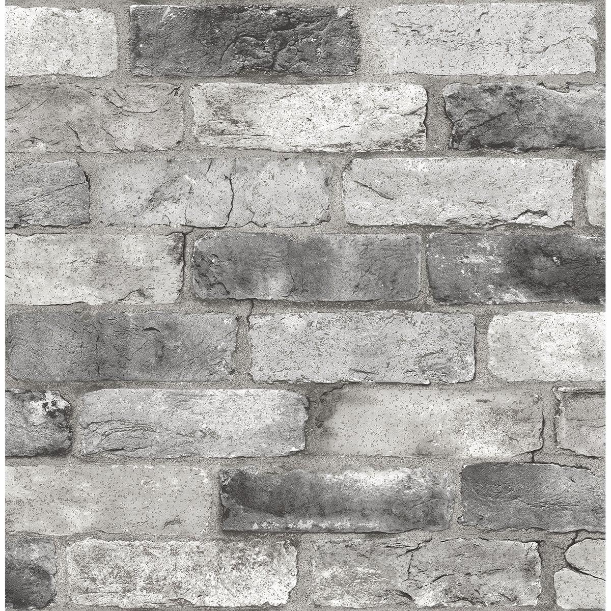 NUS3550 - Grey London Brick Peel and Stick Wallpaper - by ...