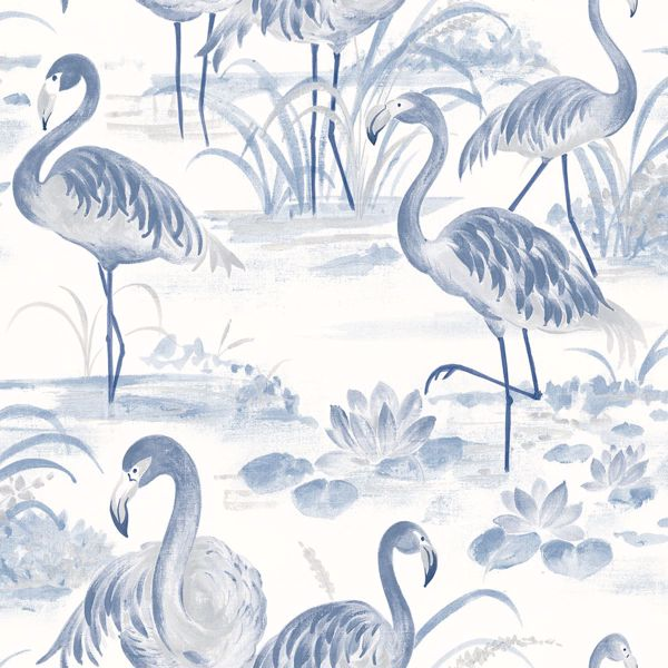 Picture of Everglades Blue Flamingos Wallpaper