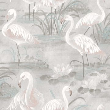 Picture of Everglades Grey Flamingos Wallpaper
