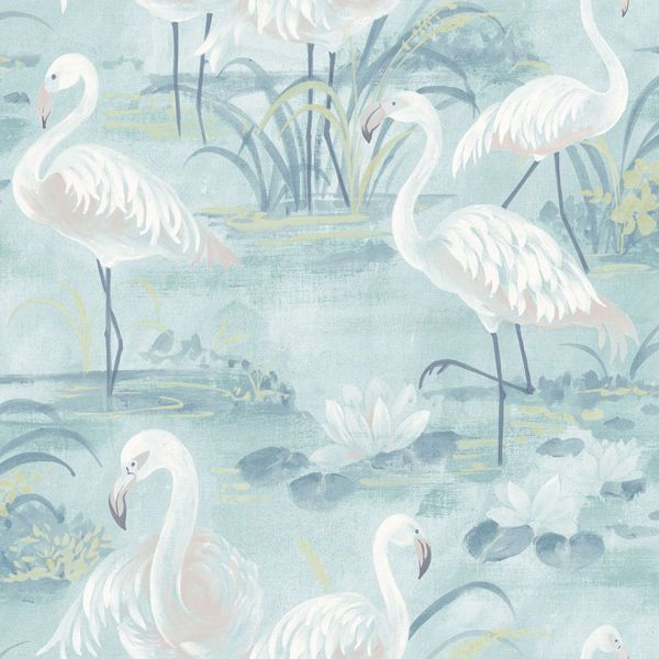 Picture of Everglades Aqua Flamingos Wallpaper