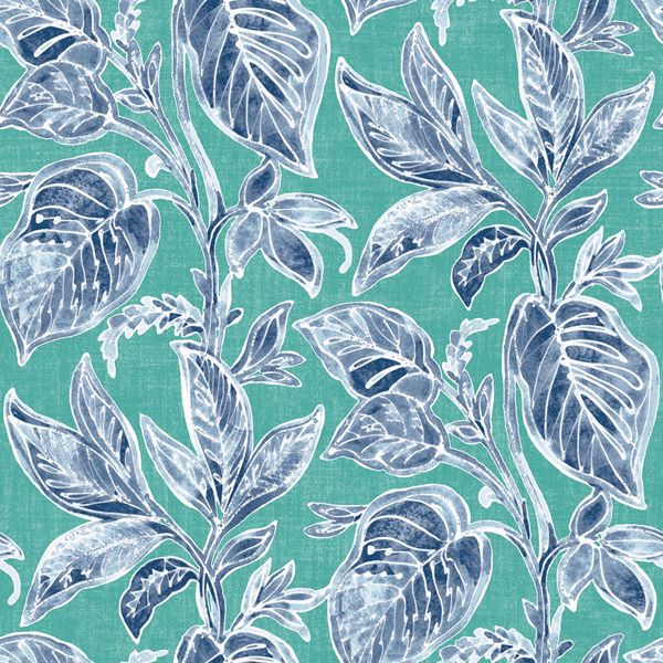 Picture of Mangrove Teal Botanical Wallpaper