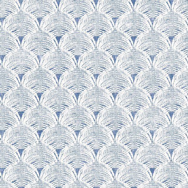 Picture of Santiago Blue Scalloped Wallpaper