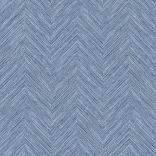 Picture of Caladesi Blue Faux Linen Wallpaper