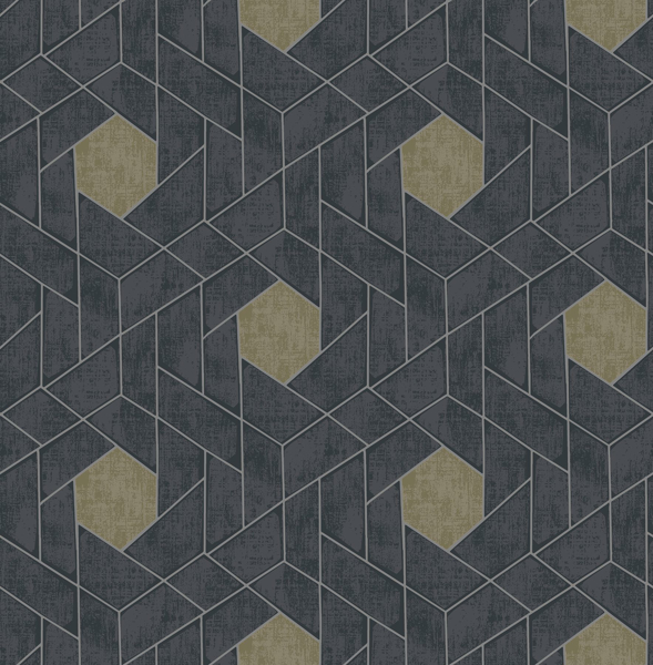 Picture of Granada Charcoal Geometric Wallpaper- Scott Living