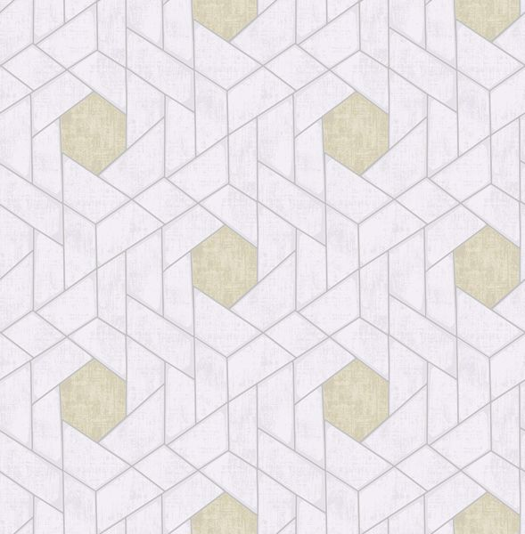 Picture of Granada Silver Geometric Wallpaper- Scott Living