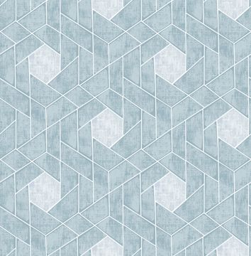 Picture of Granada Aqua Geometric Wallpaper- Scott Living