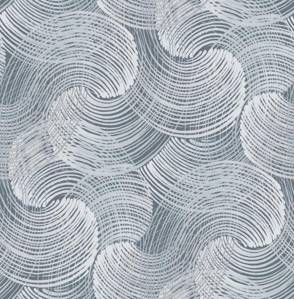 Picture of Karson Blue Swirling Geometric Wallpaper- Scott Living