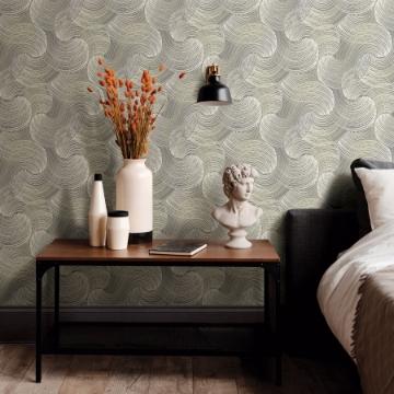 Picture of Karson Grey Swirling Geometric Wallpaper- Scott Living