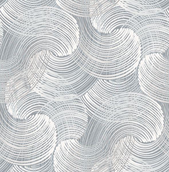 Picture of Karson Slate Swirling Geometric Wallpaper- Scott Living