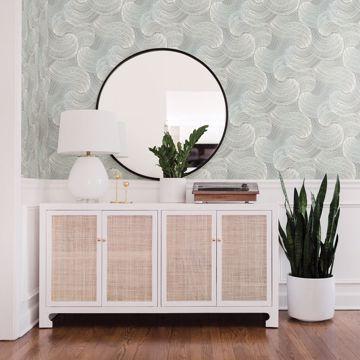 Picture of Karson Teal Swirling Geometric Wallpaper- Scott Living