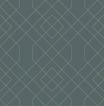 Picture of Ballard Teal Geometric Wallpaper- Scott Living