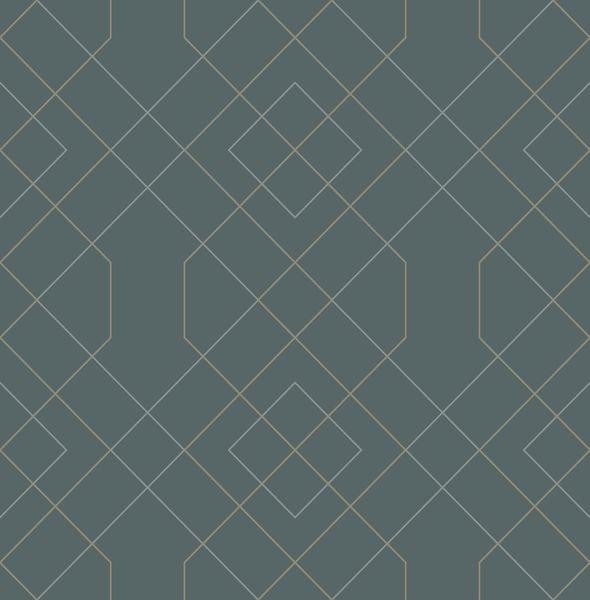 Picture of Ballard Teal Geometric Wallpaper- Scott Living