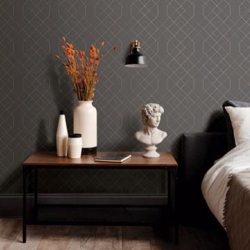 Picture of Ballard Grey Geometric Wallpaper- Scott Living