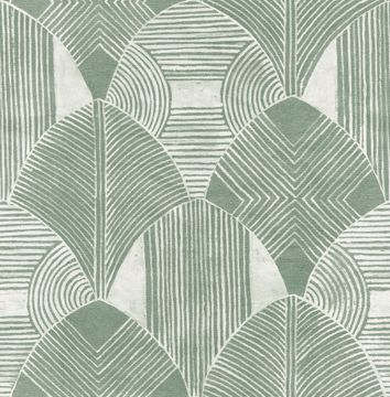 Picture of Westport Green Geometric Wallpaper- Scott Living