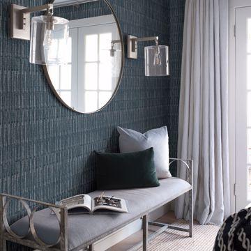 Picture of Brixton Indigo Texture Wallpaper- Scott Living