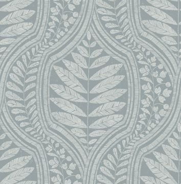 Picture of Juno Teal Ogee Wallpaper- Scott Living