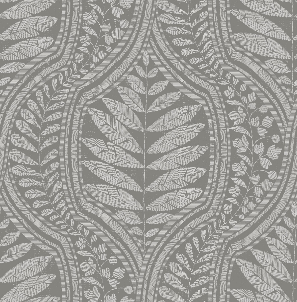 Picture of Juno Dark Grey Ogee Wallpaper- Scott Living
