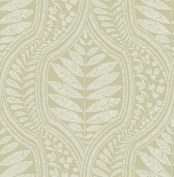 Picture of Juno Green Ogee Wallpaper- Scott Living