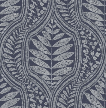 Picture of Juno Indigo Ogee Wallpaper- Scott Living