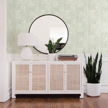 Picture of Merritt Green Geometric Wallpaper- Scott Living
