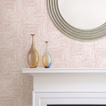 Picture of Merritt Red Geometric Wallpaper- Scott Living