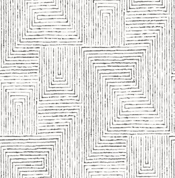 Picture of Merritt Black Geometric Wallpaper- Scott Living