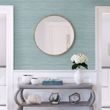 Picture of Barnaby Light Blue Faux Grasscloth Wallpaper- Scott Living