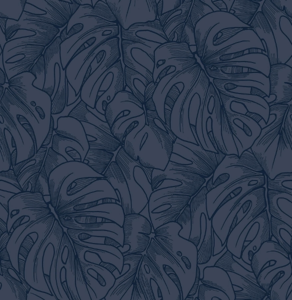 Picture of Balboa Indigo Botanical Wallpaper- Scott Living