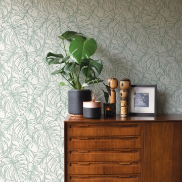 Picture of Balboa Olive Botanical Wallpaper- Scott Living