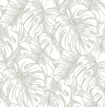 Picture of Balboa Silver Botanical Wallpaper- Scott Living