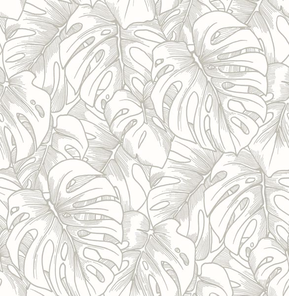 Picture of Balboa Silver Botanical Wallpaper- Scott Living