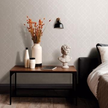 Picture of Ballard Silver Geometric Wallpaper- Scott Living