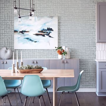 Picture of Shea Sky Blue Distressed Geometric Wallpaper- Scott Living