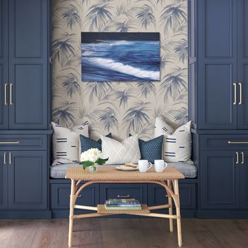 Picture of Darlana Blue Grasscloth Wallpaper- Scott Living