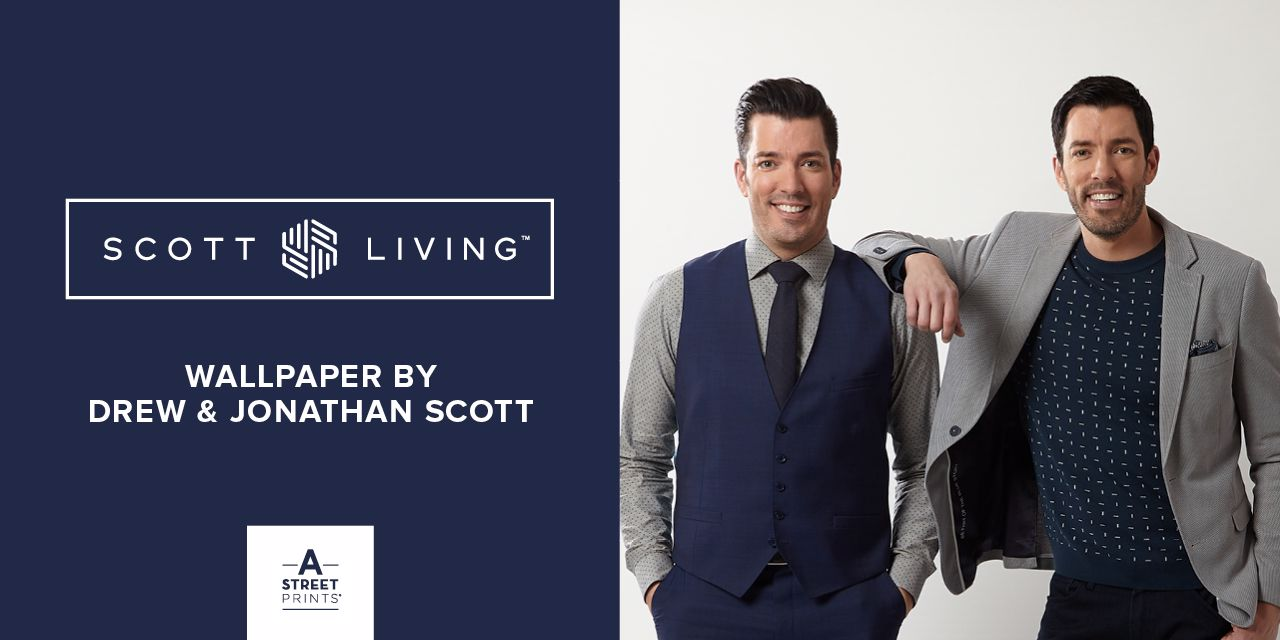 Scott Living Home Page Slider Featuring a new wallpaper collection by Drew & Jonathan Scott, Host of HGTV's Property Brothers