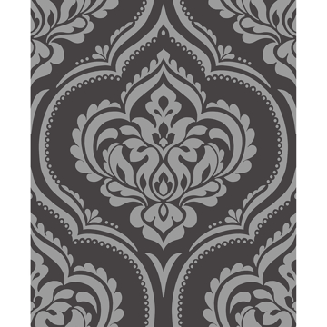 Picture of Glitz Grey Ornamental Damask Wallpaper