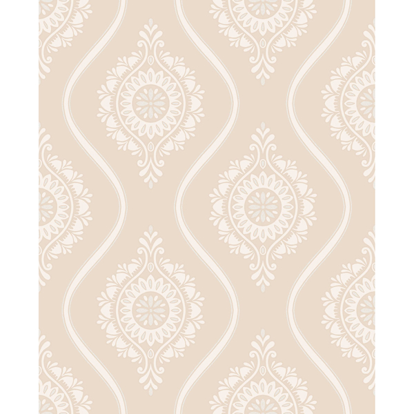 Picture of Beaumont Coral Ogee Wallpaper
