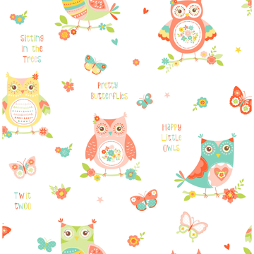 Picture of Flynn White Owls Wallpaper