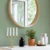 Picture of Lisbeth Green Geometric Lattice Wallpaper