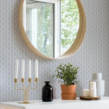 Picture of Lisbeth Grey Geometric Lattice Wallpaper