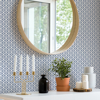 Picture of Lisbeth Blue Geometric Lattice Wallpaper