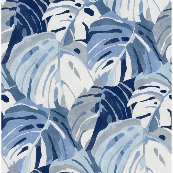 Picture of Samara Blue Monstera Leaf Wallpaper