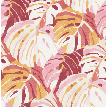 Picture of Samara Pink Monstera Leaf Wallpaper