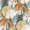 Picture of Samara Orange Monstera Leaf Wallpaper